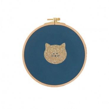 Cadre tambour Petit Chat - Bleu canard & doré