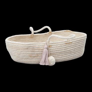 Panier en corde pour poupée - Mauve