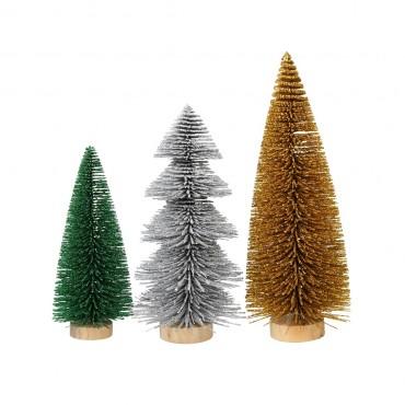 Lot de 3 sapins de Noël glitter