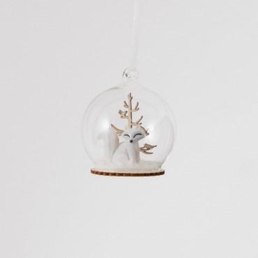 Boule de Noël - Renard & neige