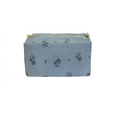 Trousse de toilette Vic  - Poulpe / Bleu gris