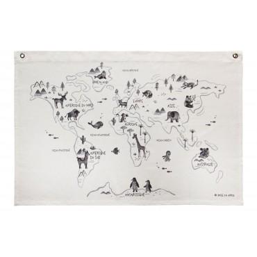 Carte du monde imprimée sur canvas