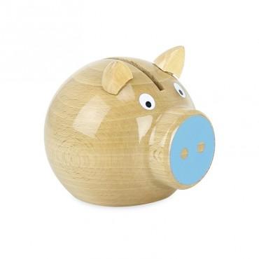 Tirelire cochon en bois naturel - Bleu