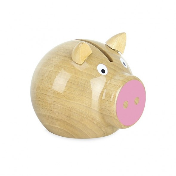Tirelire cochon en bois naturel - Rose