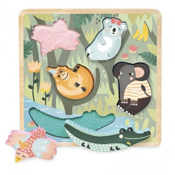 Puzzle à encastrement tactile Jungle par Michelle Carlslund