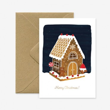 Carte double - Gingerbread House Gold Foil