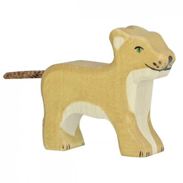 Animal en bois - Petit lion debout
