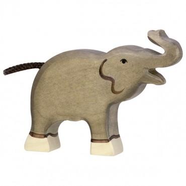 Animal en bois - Petit élephant (trompe haute)