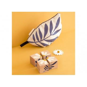 4 cubes en bois - Plantes