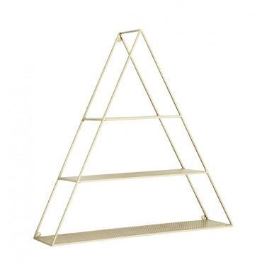 Etagère triangulaire en métal perforé - Doré