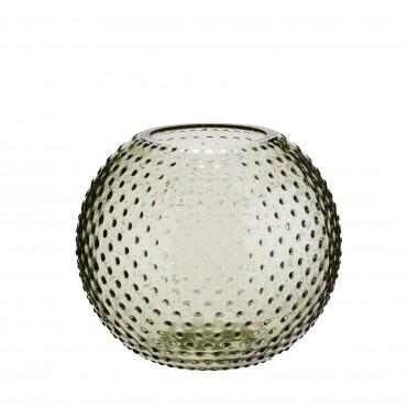 Vase rond en verre à pois - Green