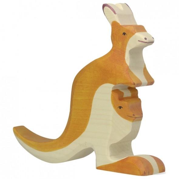 Animal en bois - Kangourou avec son petit