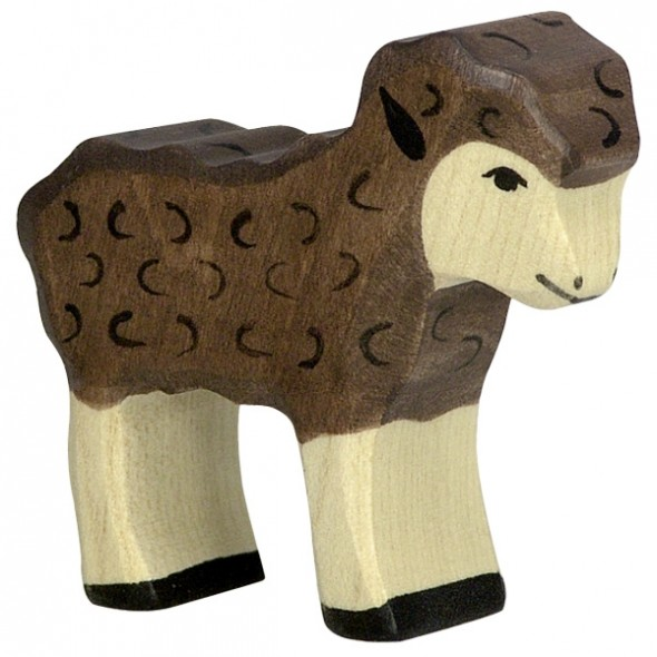 Animal en bois - Agneau noir