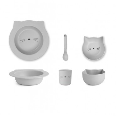 Set de vaisselle Barbara en bambou - Cat (dumbo grey)