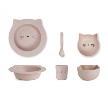 Set de vaisselle Barbara en bambou - Cat (rose)