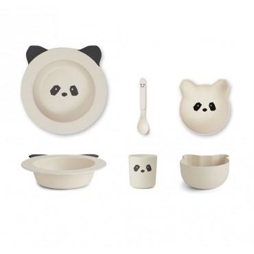 Set de vaisselle Barbara en bambou - Panda (crème)