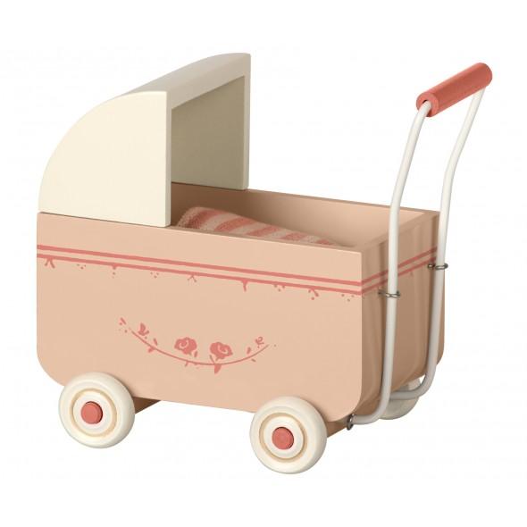 Landau en bois pour bébé souris/lapin - Rose