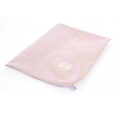 Housse de matelas à langer Calma - White bubble / Misty pink