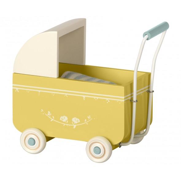 Landau en bois pour bébé souris/lapin - Bleu