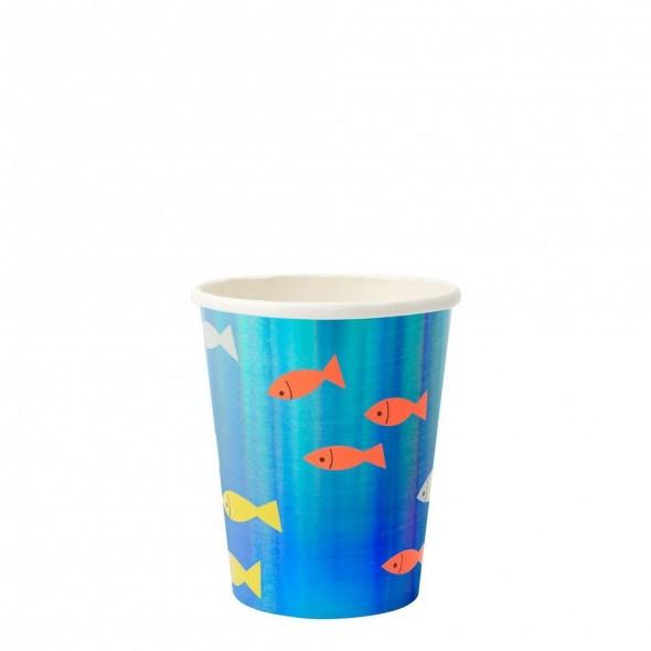 8 gobelets en carton - Sous la mer