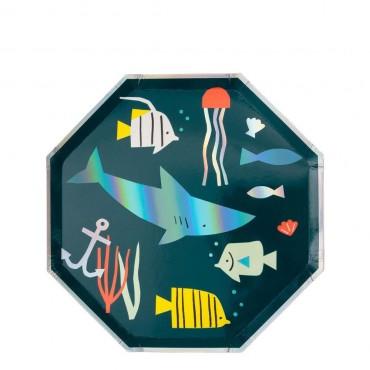 8 petites assiettes en carton - Sous la mer