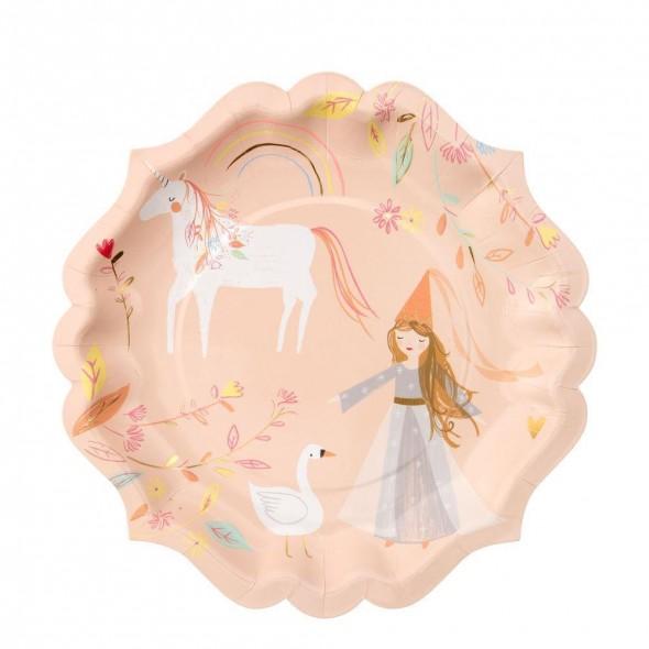8 grandes assiettes en carton - Princesse magique