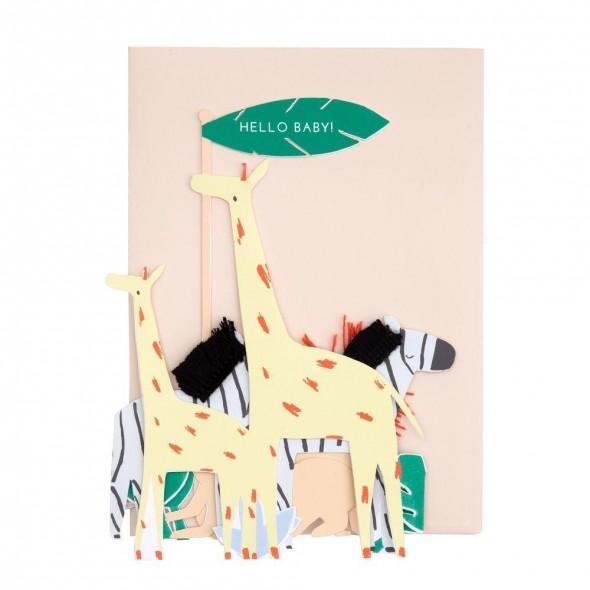 Carte anniversaire - Safari Hello Baby !