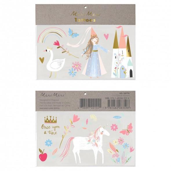 2 planches de tatouages éphémères -  Princesse magique