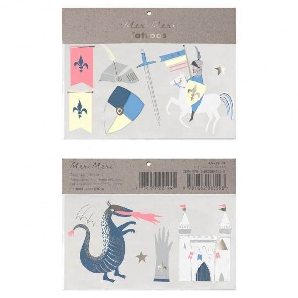 2 planches de tatouages éphémères -  Dragon et Chevalier