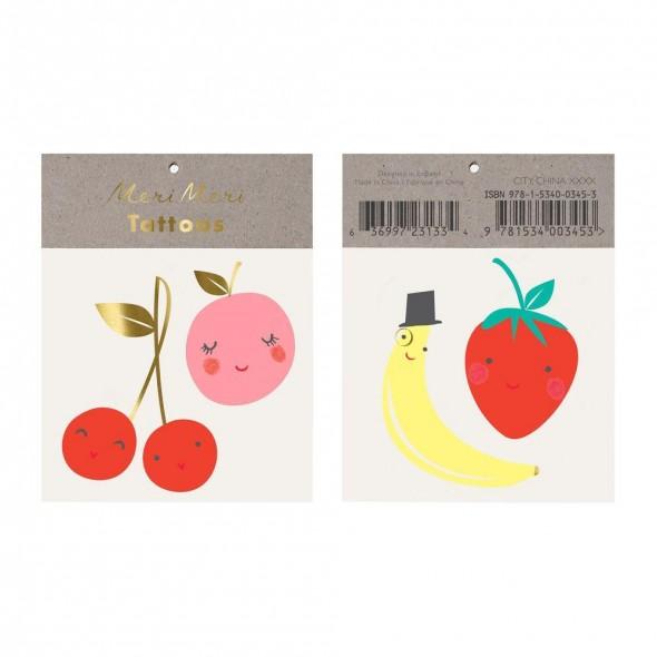 2 planches de tatouages éphémères - Fruits joyeux