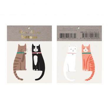 2 planches de tatouages éphémères - Chats heureux