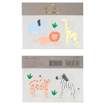 2 planches de tatouages éphémères - Safari