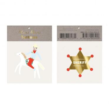 2 planches de tatouages éphémères - Shérif
