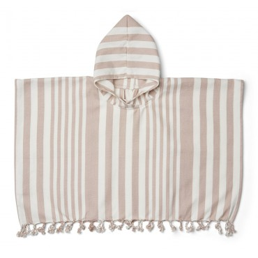 Poncho de plage Roomie - Rayures rose