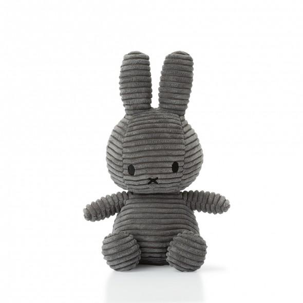 Peluche Miffy - Velours côtelé anthracite (24 cm)