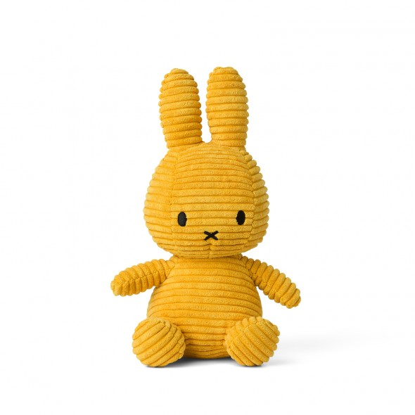 Peluche Miffy - Velours côtelé jaune (24 cm)