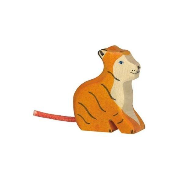 Animal en bois - Petit tigre assis