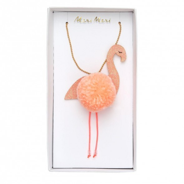 Collier enfant - Flamand rose pompons