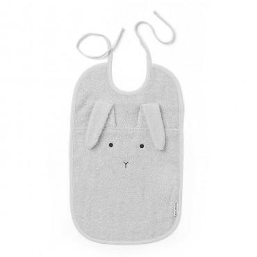 Bavoir Theo - rabbit dumbo grey