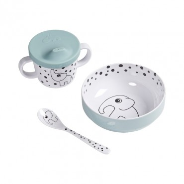 Set premiers repas - Happy dots, Blue