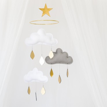 Mobile Nuage et étoile avec anneau  - Milan