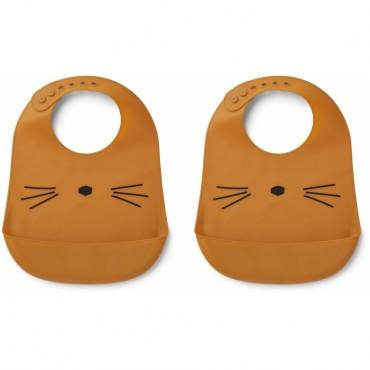 Bavoir en silicone Tilda - Cat moutarde