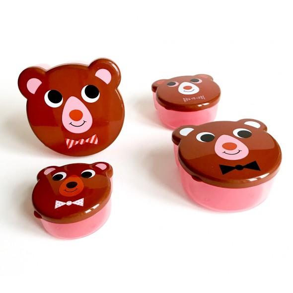 Set de 4 boites à goûter - Ours brun