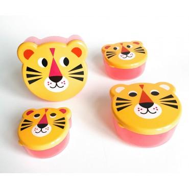Set de 4 boites à goûter - Tigres