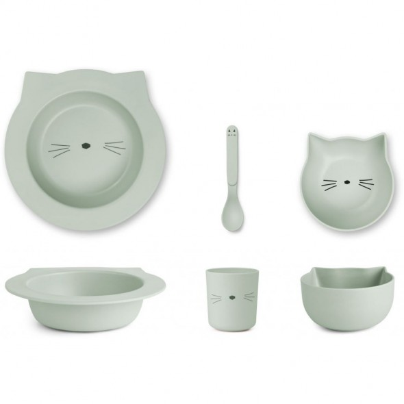 Set de vaisselle Barbara en bambou - Cat (dusty mint)