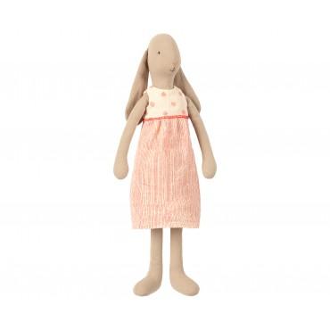 Poupée Lapin Fille  - Robe rayée et pois (Taille 3)
