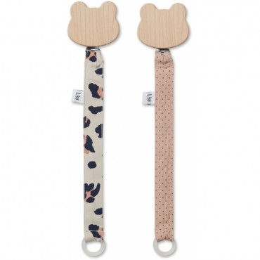 Set de 2 attaches sucette - Leo Beige beauty