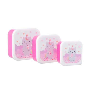 Set de 3 lunch box carrée - Luna Caticorn