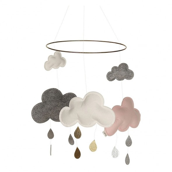 Mobile Nuage Pinkberry - Rose / Gris chiné / Blanc