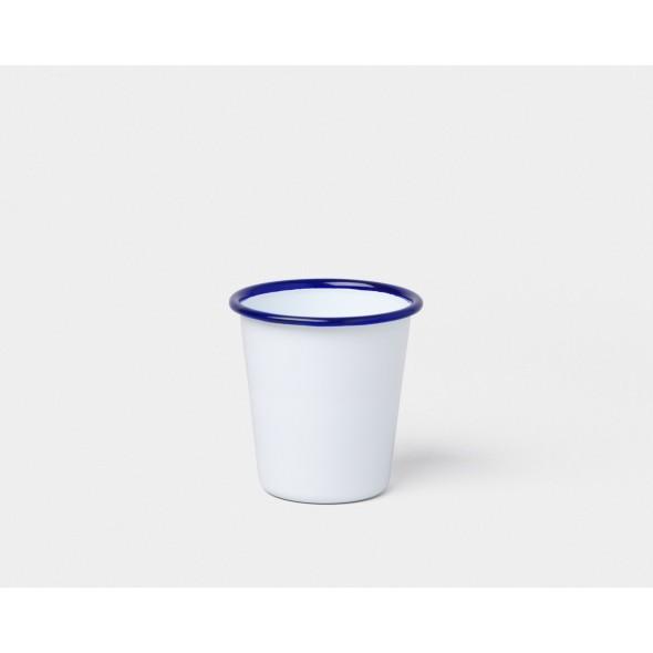 Tumbler en émail - Blanc avec liseré bleu